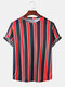 Mens Striped Printed O-Neck Short Sleeve Casual Summer T-Shirts - Red