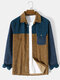 Mens Color Block Patchwork Flap Pocket Corduroy Casual Long Sleeve Shirts - Brown