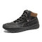 Men Hand Stitching Microfiber Leather Lace Up Ankle Boots - Black