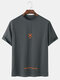 Mens Letter Embroidery Crew Neck Short Sleeve T-Shirt - Grey