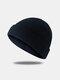 Bonnet unisexe en laine tricoté de couleur unie Casquettes de crâne Bonnets sans bord - Noir