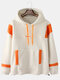 Mens Colorblock Loose Lamb Wool Patchwork Thick Cotton Casual Hoodie - Beige