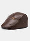 Collrown Men Faux Leather Solid Color Flat Cap Retro Casual Outdoor Forward Hat Beret Hat - Brown