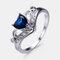 Vintage Geometric Peach Heart Crown Rings Hollow Gem Rhinestone Rings Chic Jewelry - Blue