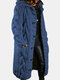 Women Solid Color Knitted Button Hooded Casual Cardigan With Pocket - Blue