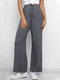 High Waisted Casual Elastic Straight Pants For Women - Gray