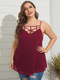 Straps Hollow Out Plus Size Sexy Tank Top - Pink