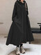 Solid Color Hooded Pockets Casual Loose Long Hoodie Dress - Black