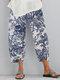 Vintage Chinese Style Elastic Waist Plus Size Women Pants - White