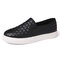Women Casual Portable Solid Color Round Toe Flat Loafers - Black