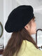 Women Knitted Solid Color Dome Breathable All-match Beret - Black