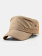 Men Solid Color Quick Dry Breathable Sunscreen Military Hat - Khaki