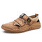 Men Hand Sitching Outdoor Breathable Mesh Leather Sandals - Khaki