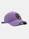 ユニセックスコットンブロークンホールレター漫画スマイルフェイス刺繡布ラベルオールマッチ日焼け止め野球帽 - 紫