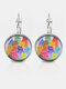 Metal Round Glass Multicolor Cat Print Women Pendant Earrings - Silver