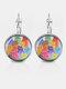 Metal Round Glass Multicolor Cat Print Women Pendant Earrings - Silver