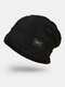 Men Wool Plus Thick Winter Keep Warm Windproof Knitted Hat - Black