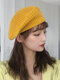 Women Knitted Solid Color Dome Breathable All-match Beret - Yellow