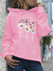 Calico Print Casual Hoodie With Pocket For Women - Pink