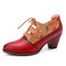 SOCOFY Leather Embossed Flowers Splicing Cut out Lace-up Chunky Heel Pumps Dress Shoes - Red