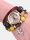 Multilayer Vintage Women Watch Decorated Pointer Four Leaf Clover Pendant Beaded Quartz Watch - #03