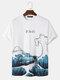 T-shirt Ukiyoe blanc à manches courtes et imprimé poisson Cartoon Wave - blanc