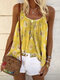 Floral Print Loose Straps Tank Tops For Women - Yellow