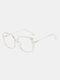 Men Anti-Blue Glasses Flat Mirror Square Glasses Frame Women Leopard Myopia Eyeglasses Frame - White