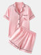 Plus Size Women Faux Silk Pajamas Set Solid Smooth Breathable Lapel Collar Loungewear With Short Sleeve Top - Pink
