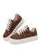 Women Casual Cute Leopard Pattern Antiskid Platform Skate Shoes - Brown