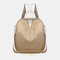 Women Star Rivet Waterproof Multi-carry Handbag Shoulder Bag Backpack - Beige