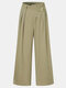 Solid Color Zip Frint Pocket Loose Casual Pants For Women - Green