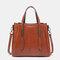 Women Casual Faxu Leather Handbag Shoulder Bag - Brown