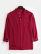 Mens Linen Solid Color 7 Color Casual Long Sleeve Henley Shirts With Pocket - Wine Red