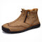 Men Double Side Zipper Hand Stitching Microfiber Leather Ankle Boots - Khaki