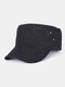 पुरुष कपास रेट्रो आउटडोर आकस्मिक सांस सैन्य टोपी पीक टोपी फ्लैट टोपी - काली