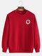 Mens Cotton Daily Relaxed Fit Crew Neck Solid Color Sweatshirts With Smile Pattern - Red
