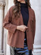 Solid Color Button Pocket Long Sleeve Casual Cardigan Coat for Women - Camel