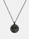 Metal Round Glass Gemstone Cat Print Women Necklace - Black