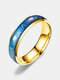 Simple Titanium Steel Color Changing Couple Ring Emotional Feeling Warm Electrocardiogram Ring Valentine's Day Gift - Gold