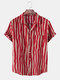 Mens Cotton Irregular Striped Revere Collar Casual Holiday Short Sleeve Shirts - Red