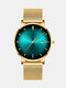 Alloy Business Gradient Color Multi-function Mesh Strap Watch - Gold+Green