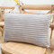 Striped Flannel Rectangular Pillowcase Backrest Cover Cushion Cover Pillowcase - Light Grey