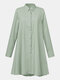Women Solid Color Button Lapel Long Sleeve Casual Blouse - Green