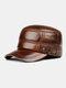 Men Cowhide Genuine Leather Military Cap Earflap Flat Cap - #04