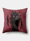 Solid Color Cat Pattern Linen Cushion Cover Home Sofa Art Decor Throw Pillowcase - Red