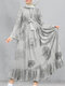 Vintage Print Pleated Long Sleeve Casual Muslim Dress for Women - White