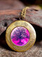 Vintage Glass Printed Women Necklaces Tree Of Life Phase Box Pendant Sweater Chain - #03