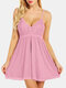 Plus Size Women Lace Bowknot Solid Color Babydolls Sexy Lingerie - Pink