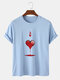 Mens Ace Of Hearts Poker Graphic Street 100% Cotton Short Sleeve T-Shirts - Blue